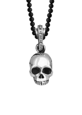 King Baby King Baby Hamlet Skull Onyx Bead Necklace