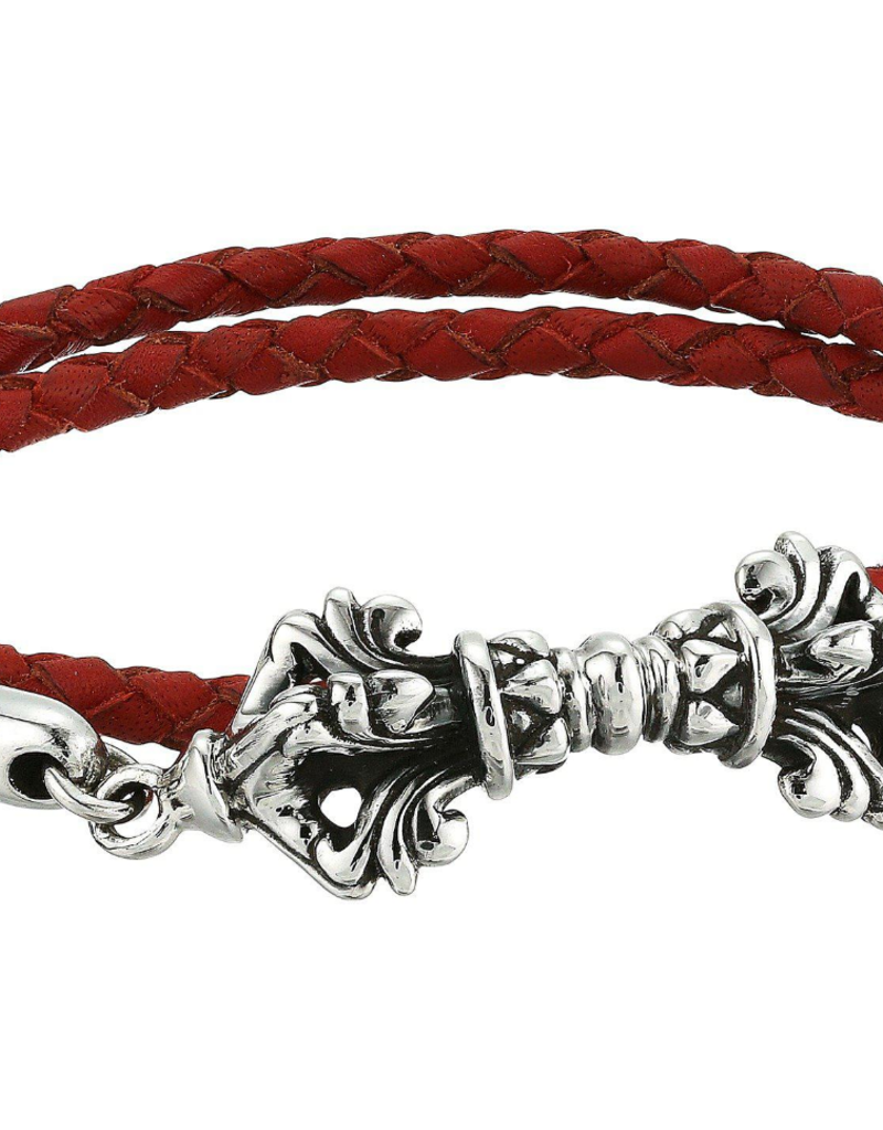 King Baby King Baby Double Wrap Red Leather Braid Twin Vajra Clasp