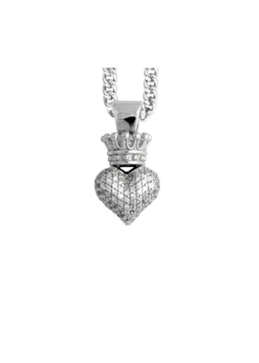 King Baby King Baby 3D Heart Pendant CZ