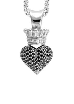 King Baby King Baby CZ Crowned Heart Motif Necklace