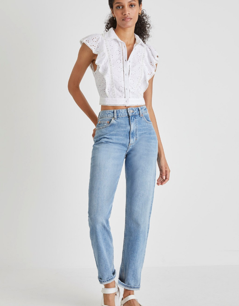French Connection French Connection Duna Broderie Cropped Top