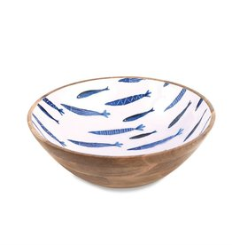 Mudpie Small Blue Fish Mango Wood Bowl