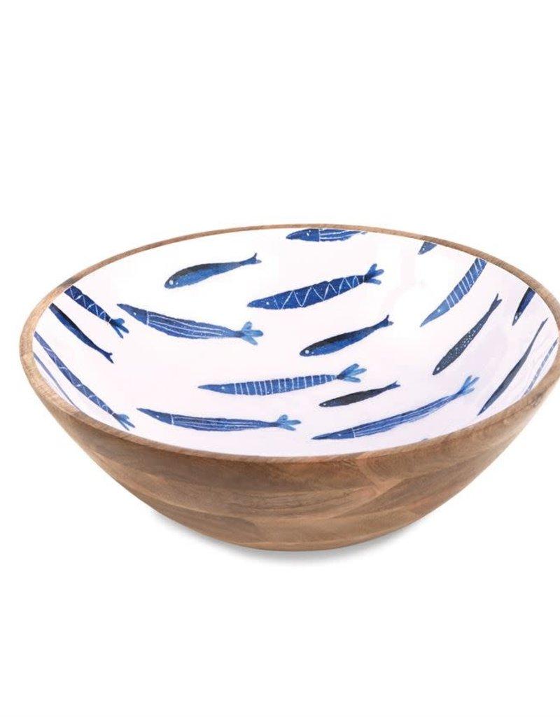Mudpie Small Blue Fish Mango Wood Bowl