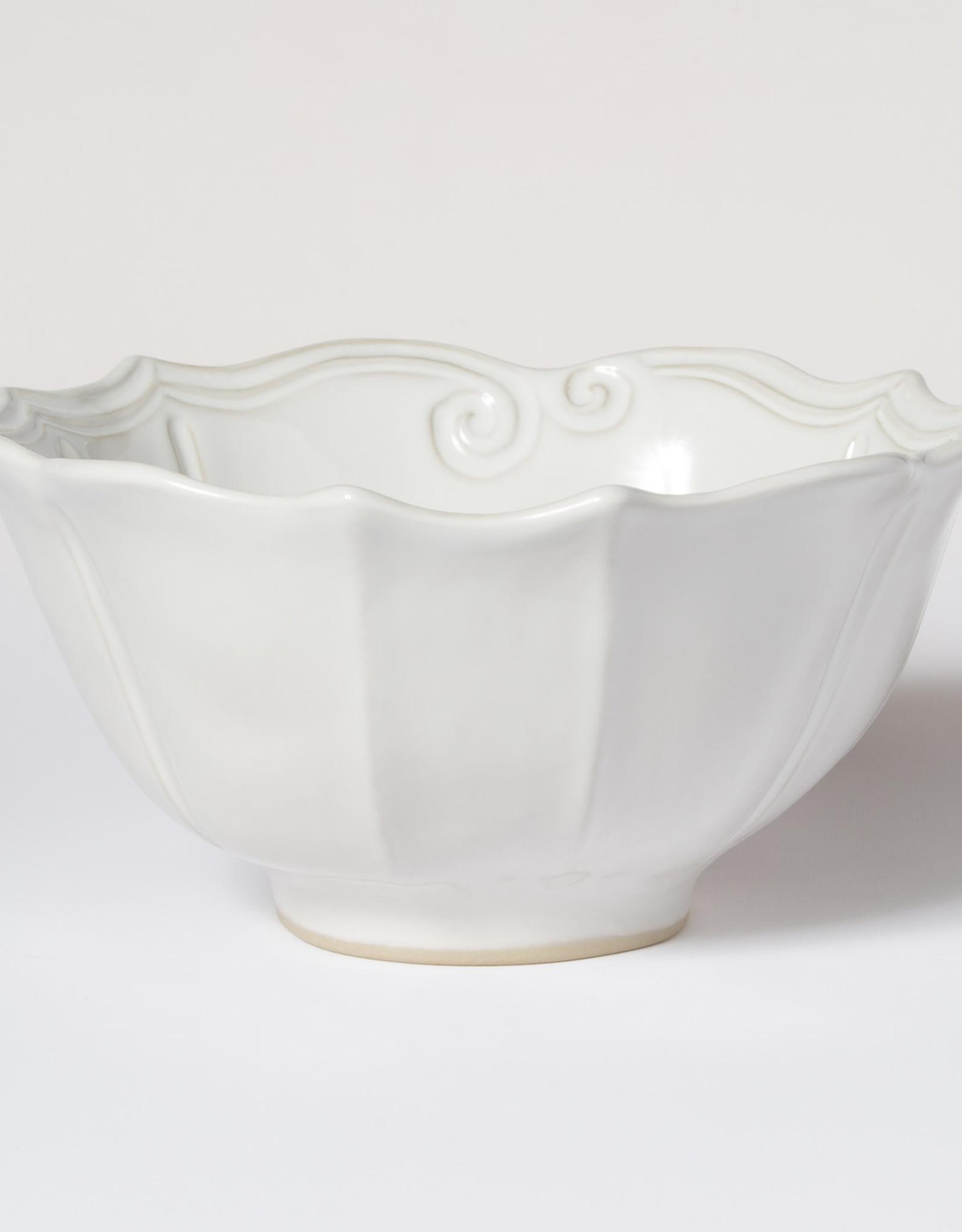 Vietri Incanto Stoneware White Baroque Medium Serving Bowl