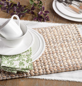 Saro Whitewash Woven Water Hyacinth Placemat Set of 4