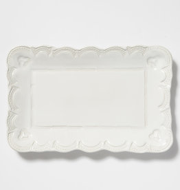 Vietri Incanto Stoneware White Lace Small Rectangular Platter