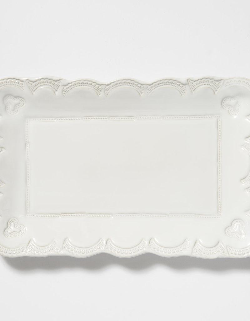 Vietri Incanto Stoneware White Lace Small Rectangular Platter
