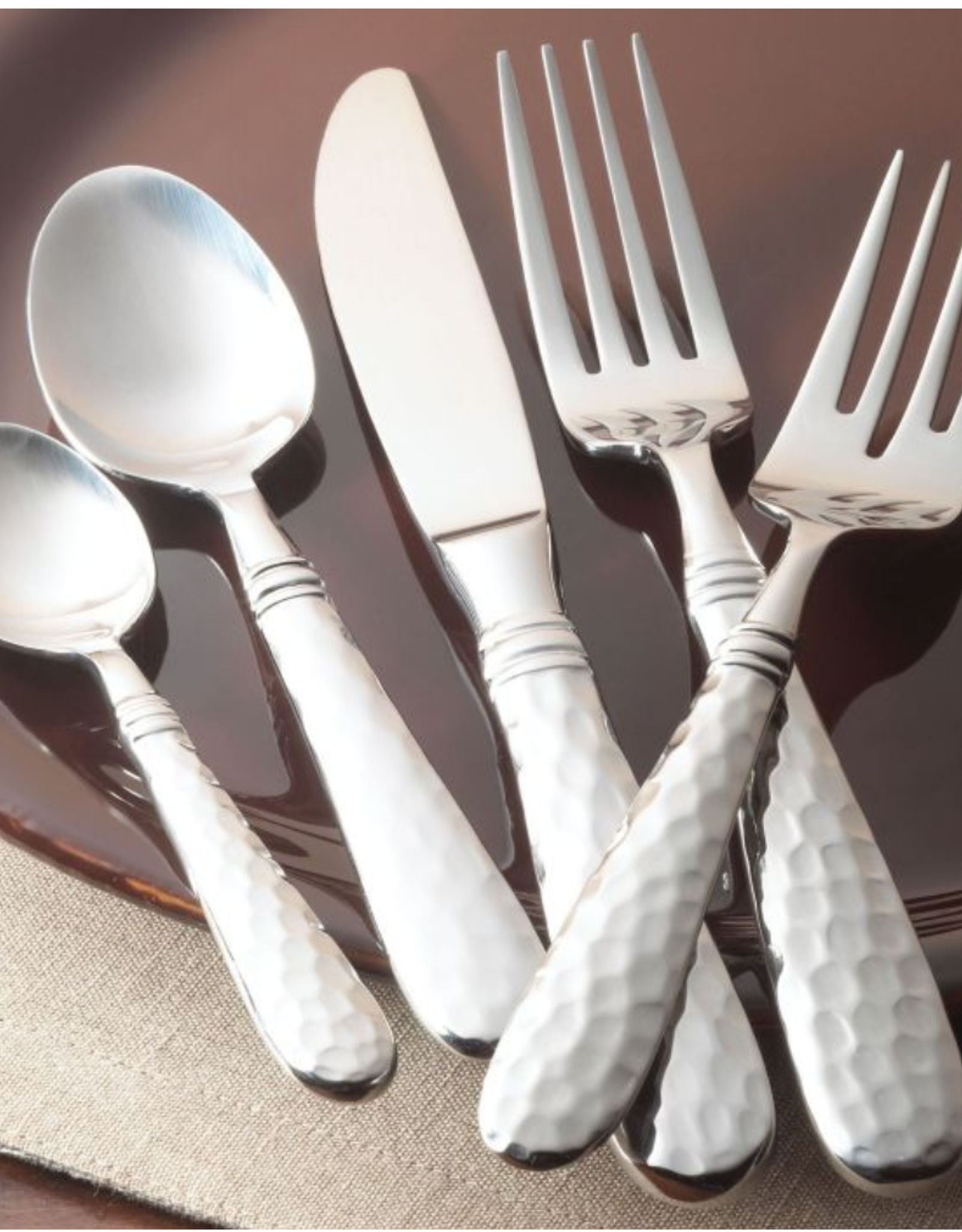 Vietri Martellato Hammered Flatware Five Piece Place Setting