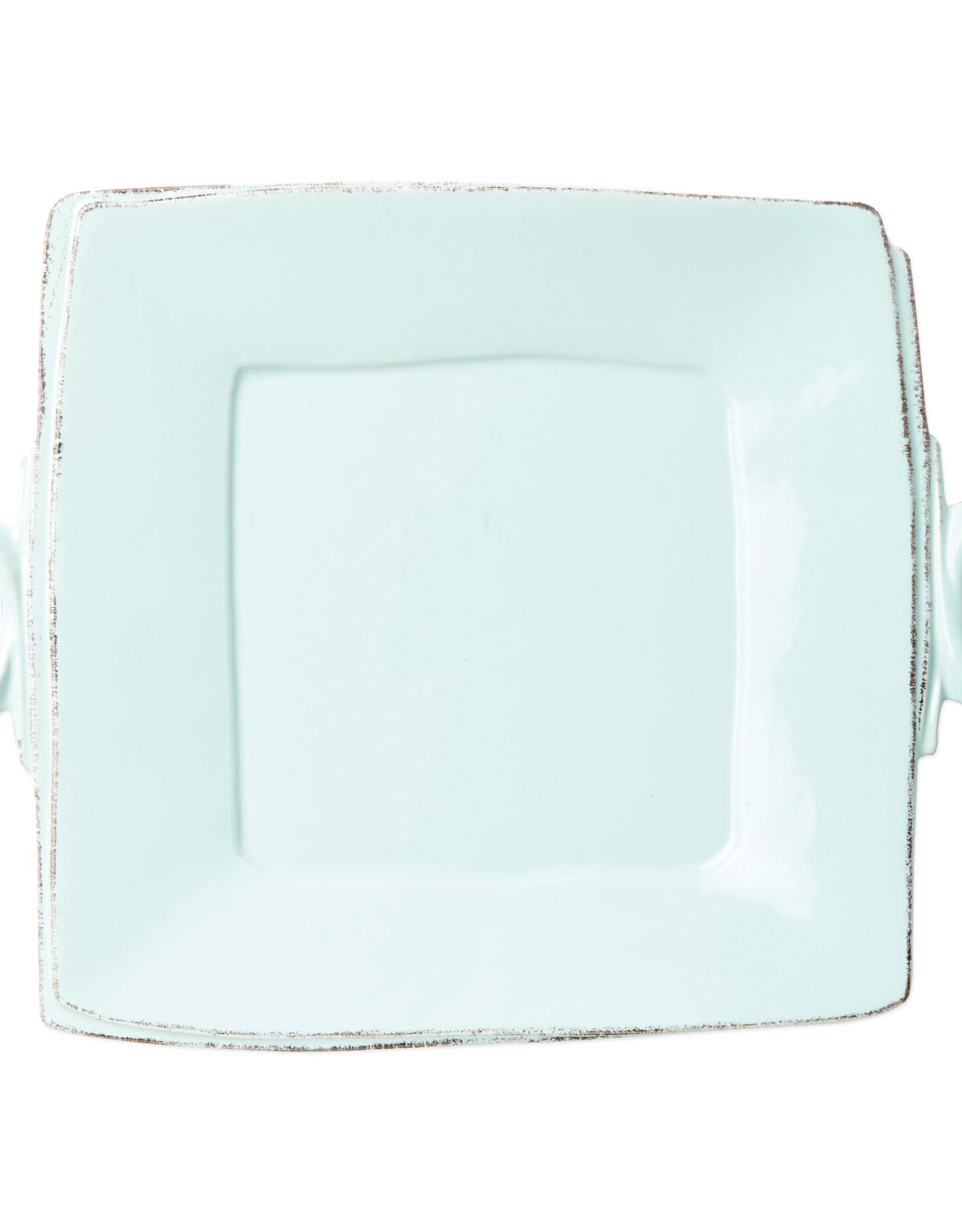 Vietri Lastra Handled Square Platter Aqua