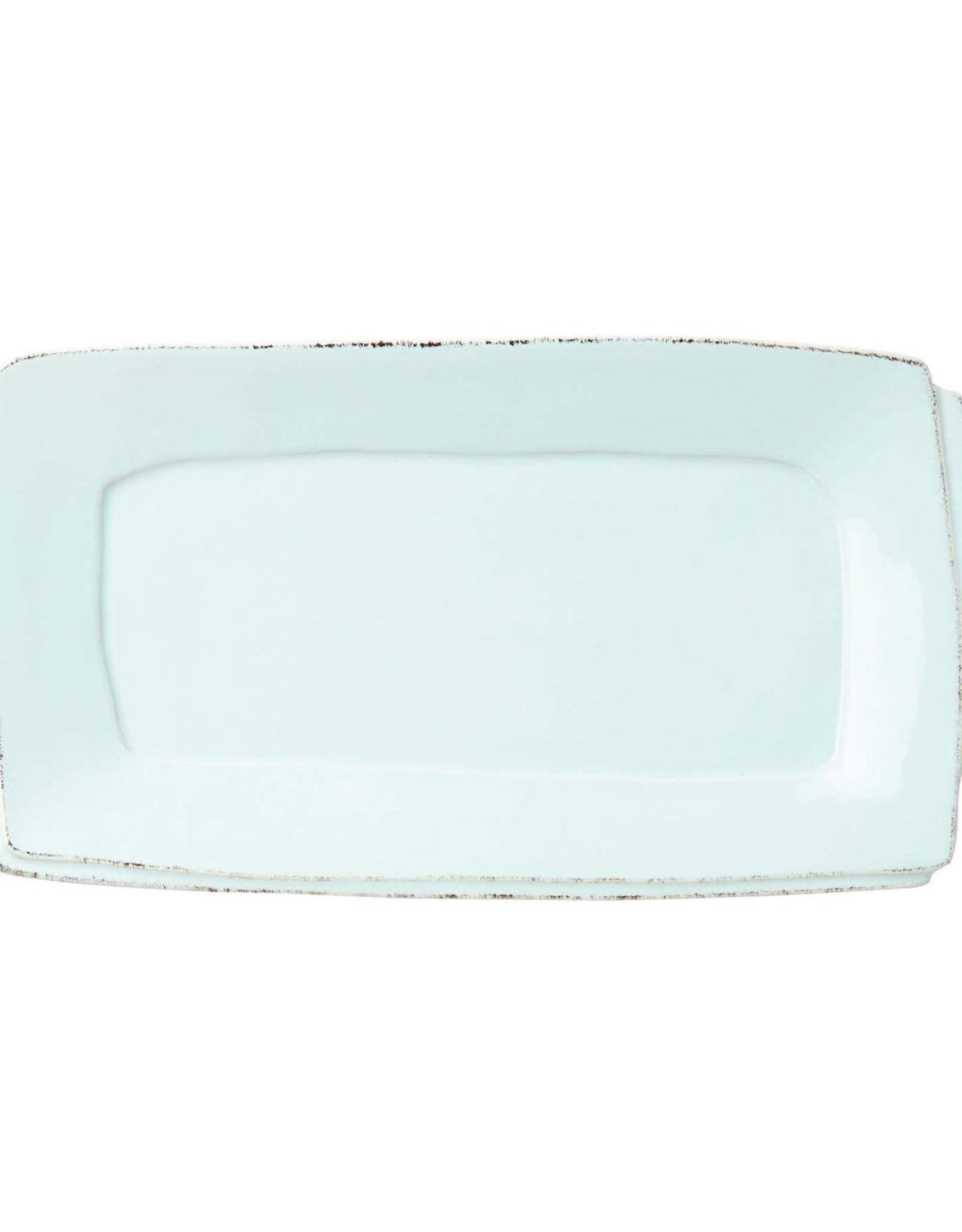 Vietri Lastra Handled Rectangular Platter Aqua