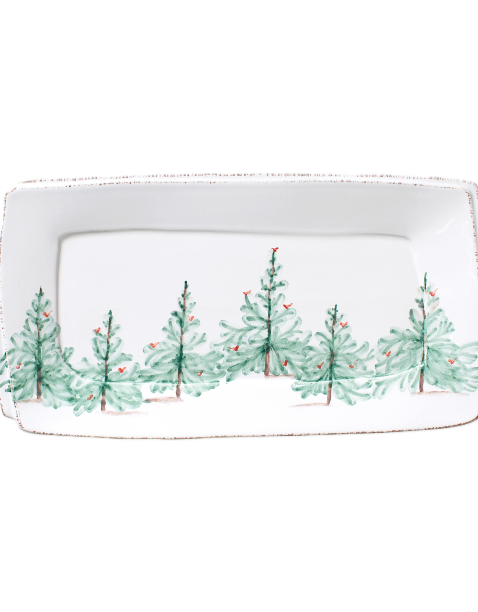 Vietri Lastra Holiday Handled Rectangular Platter