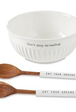 Mudpie Don't Stop Be-leafing Large Salad Bowl Set