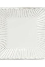 Vietri Incanto Stoneware White Stripe Square Handled Platter