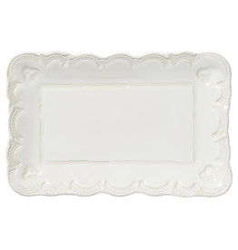 Vietri Incanto Stoneware White Small Lace Rectangular Platter
