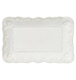 Vietri Incanto Stoneware White Small Lace Rectangular Platter