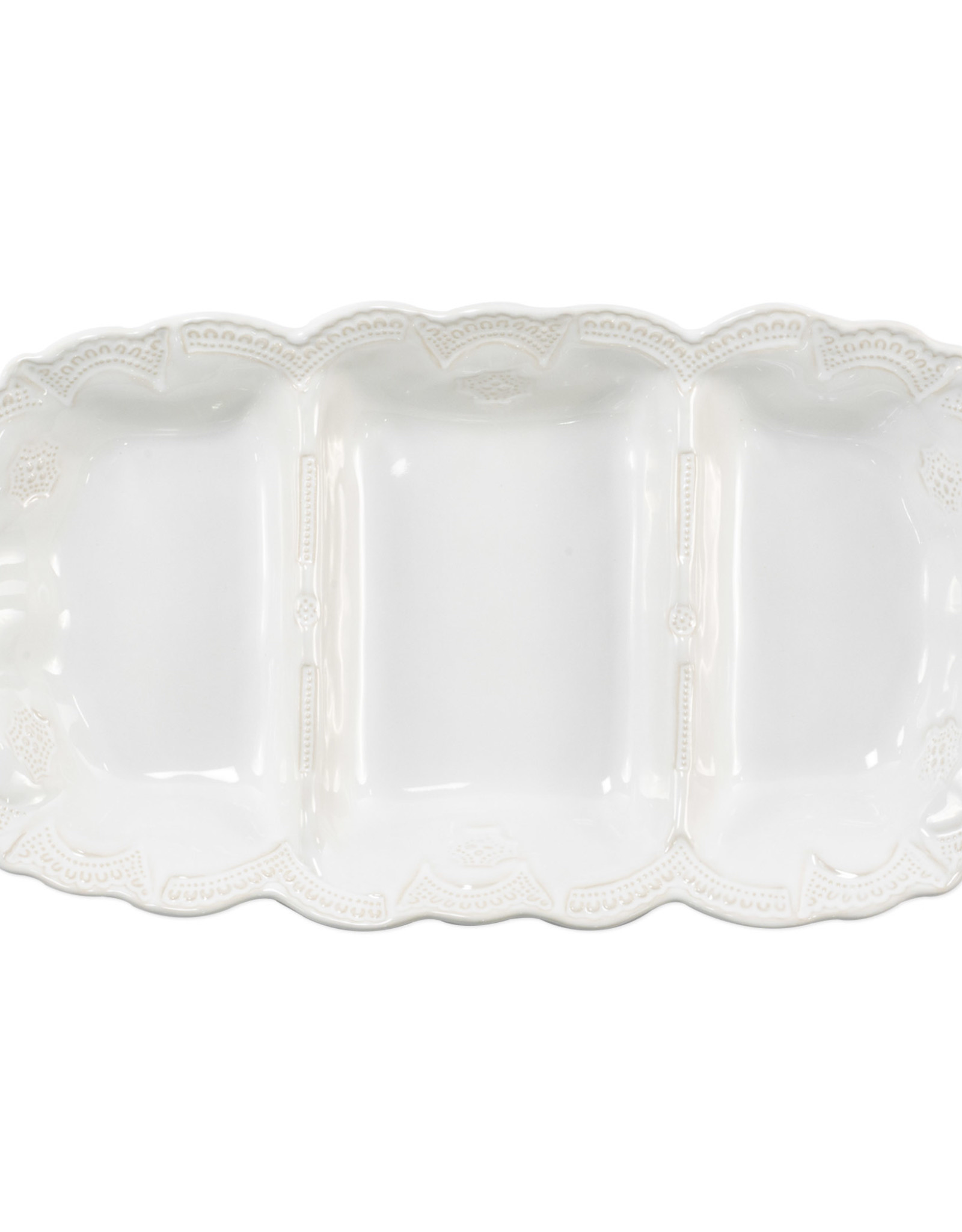 Vietri Incanto Stoneware White Lace Medium Three-Part Server
