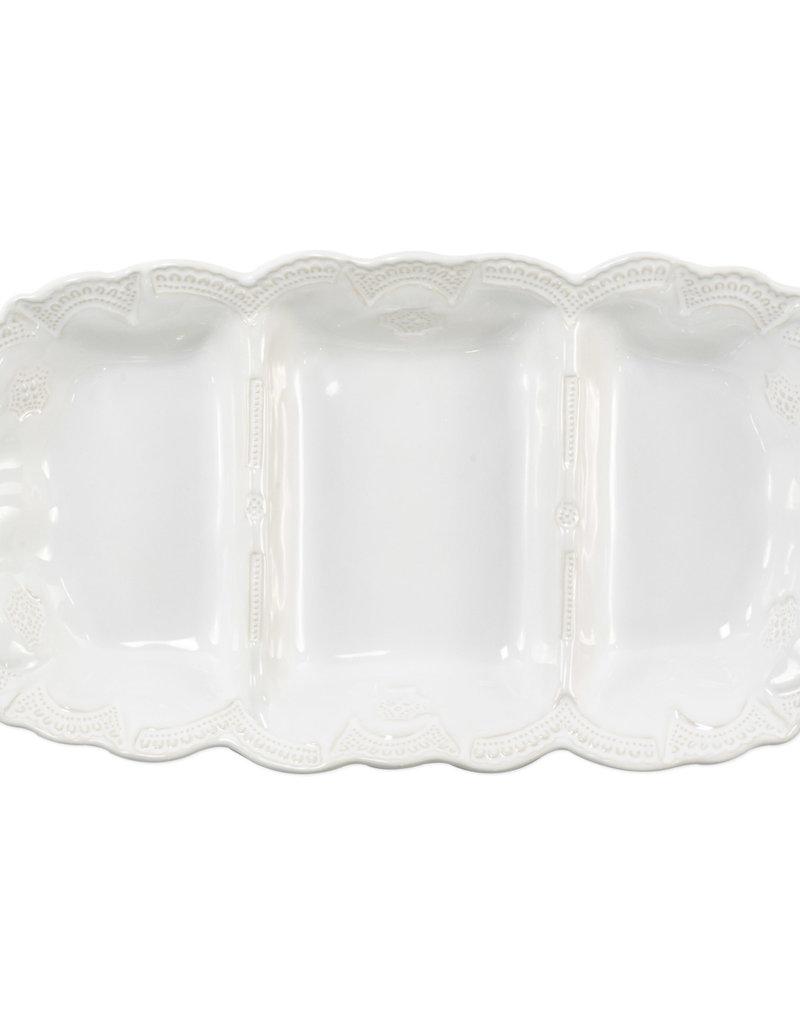 Vietri Incanto Stoneware White Lace Medium Three-Part Server