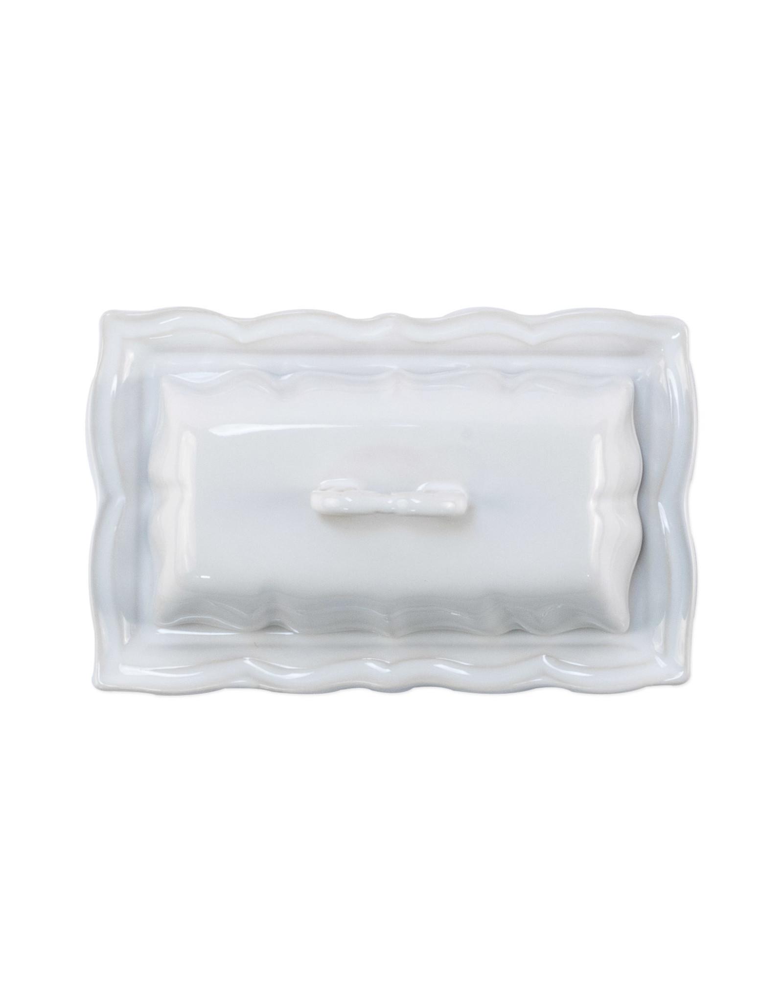 Vietri Incanto Stoneware White Baroque Butter Dish