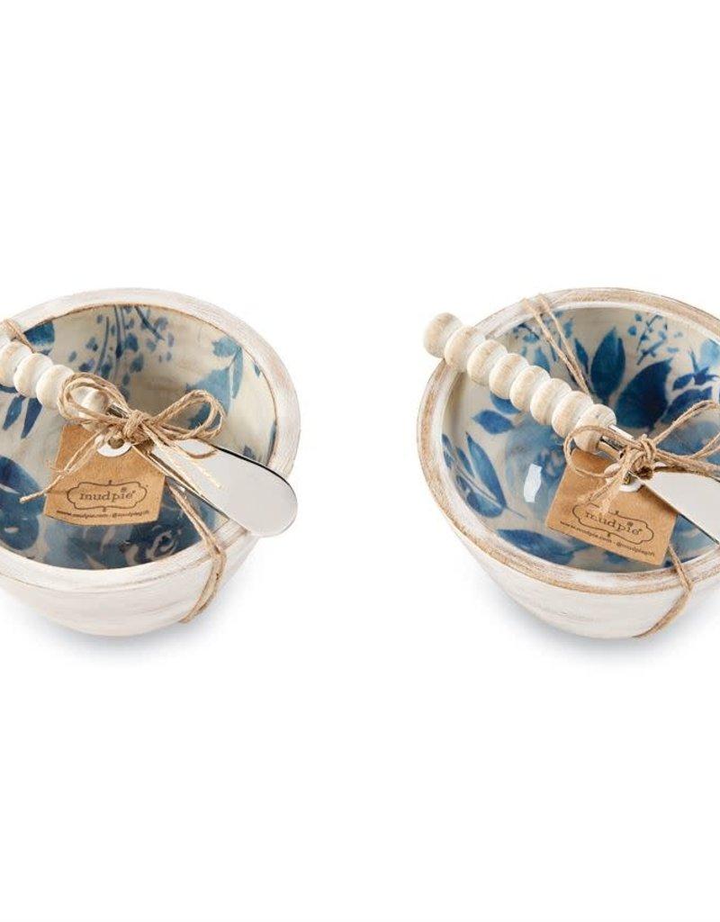 Mudpie Blue Floral Dip Bowl & Spreader Set