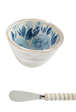 Mudpie Blue Floral Dip Bowl & Spreader Set