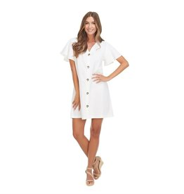 Mudpie Eva Button Front White Dress