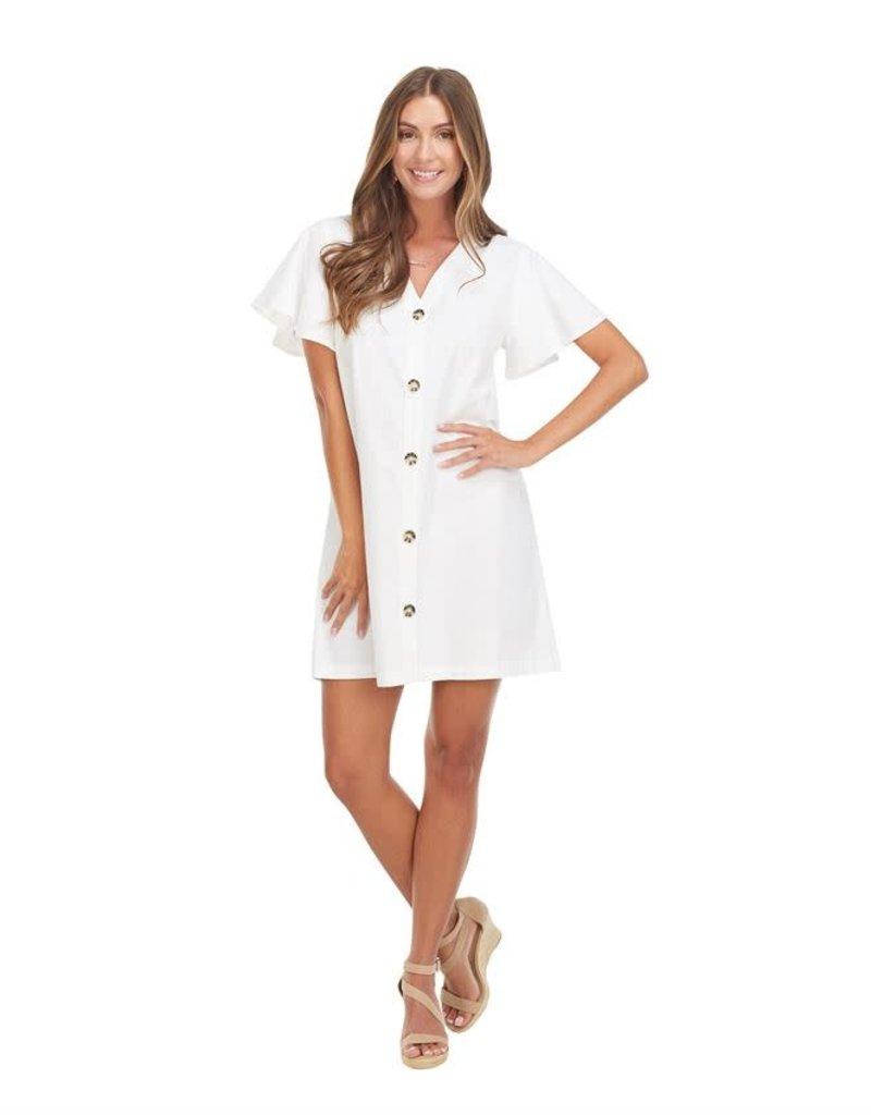 Mudpie Eva Button Front White Dress