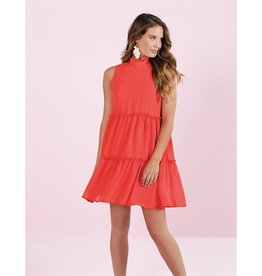 Mudpie Naomi Ruffle Dress in Coral
