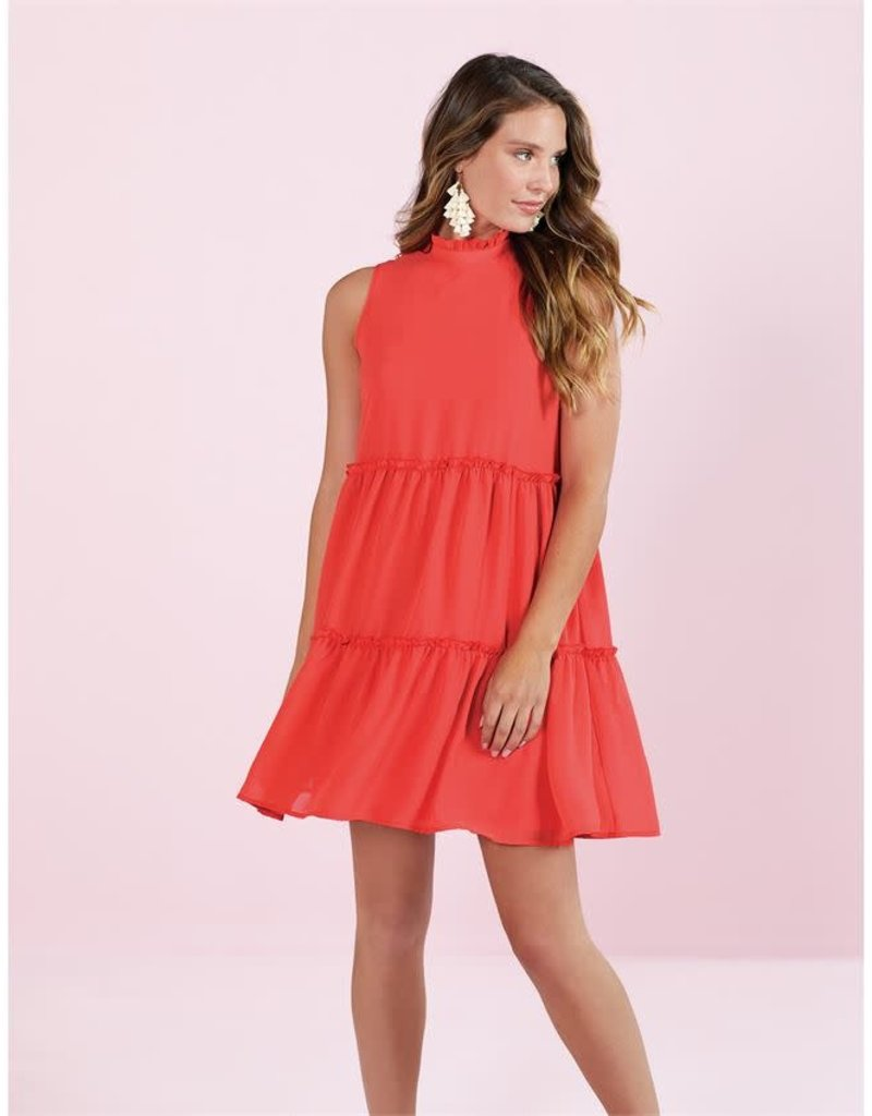 Mudpie Naomi Ruffle Dress in Coral