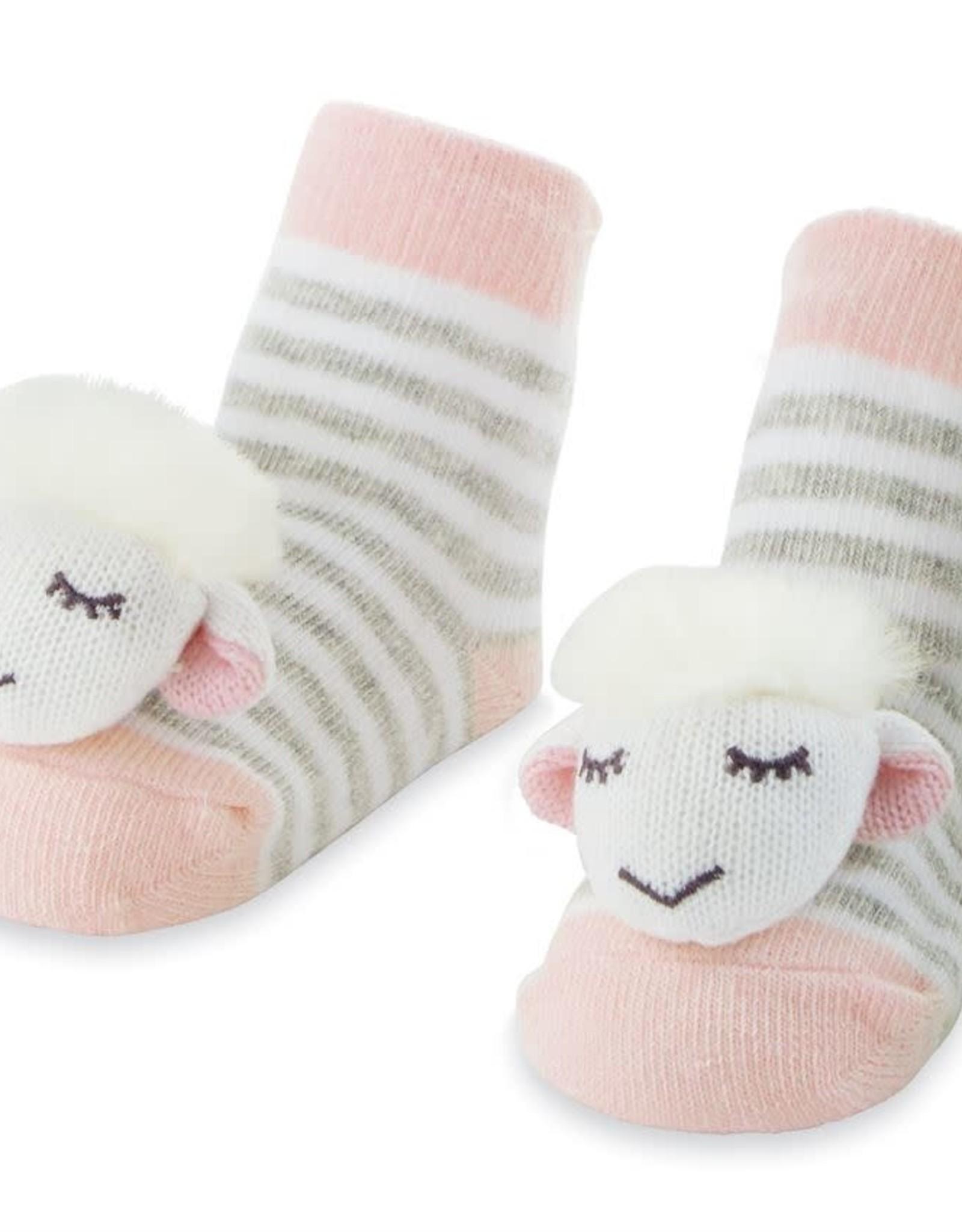 Mudpie Pink Lamb Rattle Toe Socks