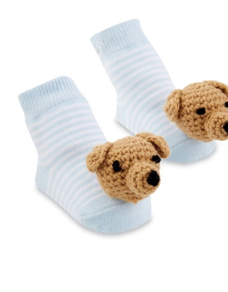 Mudpie Blue Puppy Dog Rattle Toe Socks