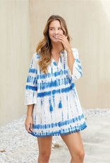 Mudpie Lacey Pom Pom Cover Up in Blue Tie Dye