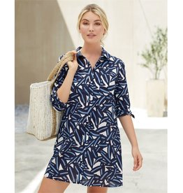 Mudpie Collins Tunic in Navy Leaf