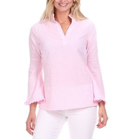 Duffield Lane Pink Gingham Bell Sleeve Top