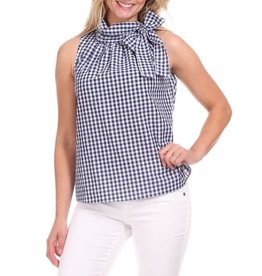 Duffield Lane Amelia Tie Neck Navy Gingham Halter Top