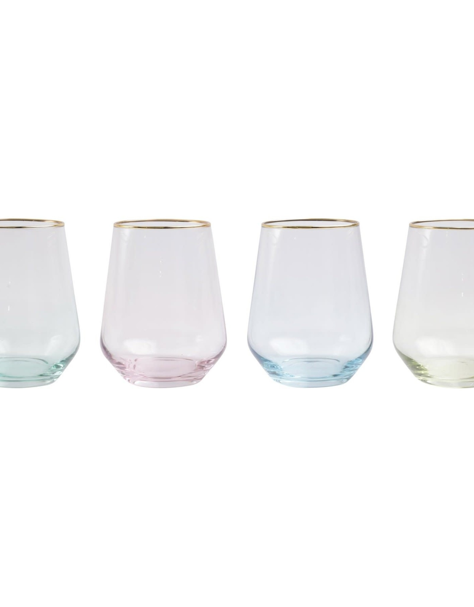 Vietri Set of 4 Rainbow Stemless Wine Glasses