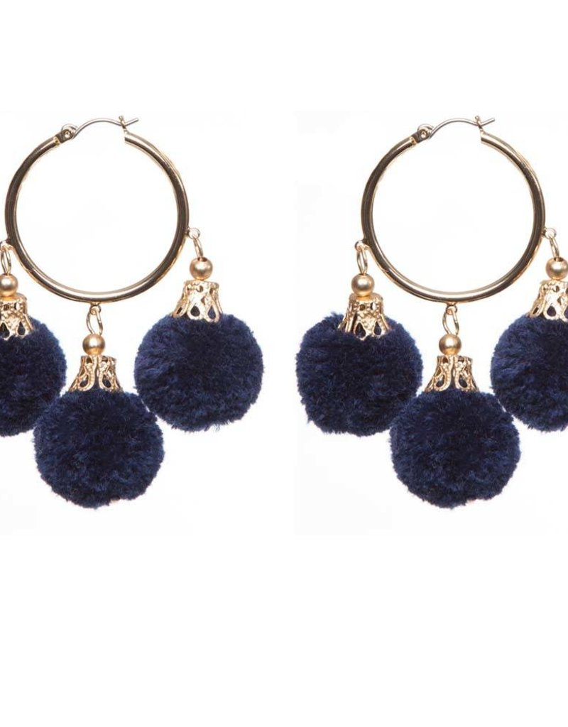 Fornash Fiesta Pom Pom Earrings in Navy