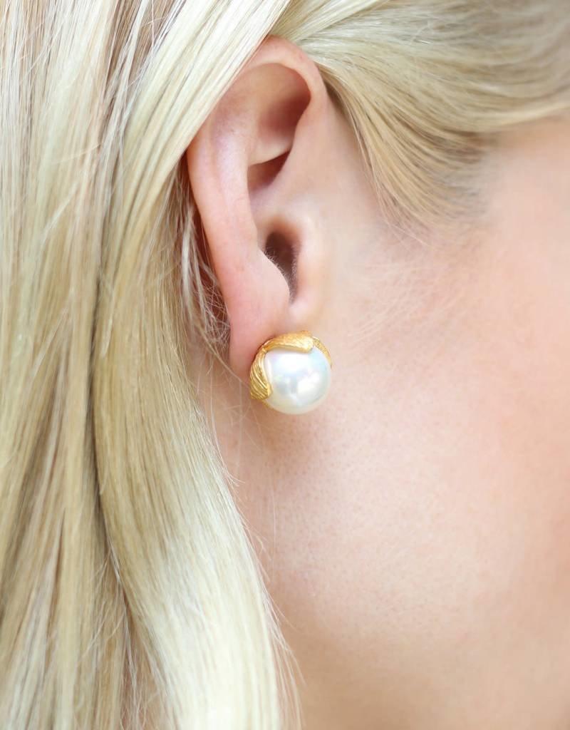 Julie Vos Large Penelope Pearl Stud Earrings