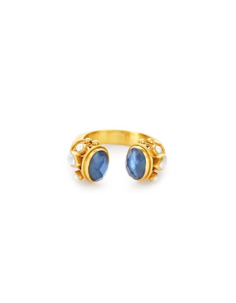 Julie Vos Byzantine Ring Iridescent Sapphire with Pearl