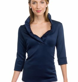 Gretchen Scott Ruffneck 3/4 Sleeve Top in Navy
