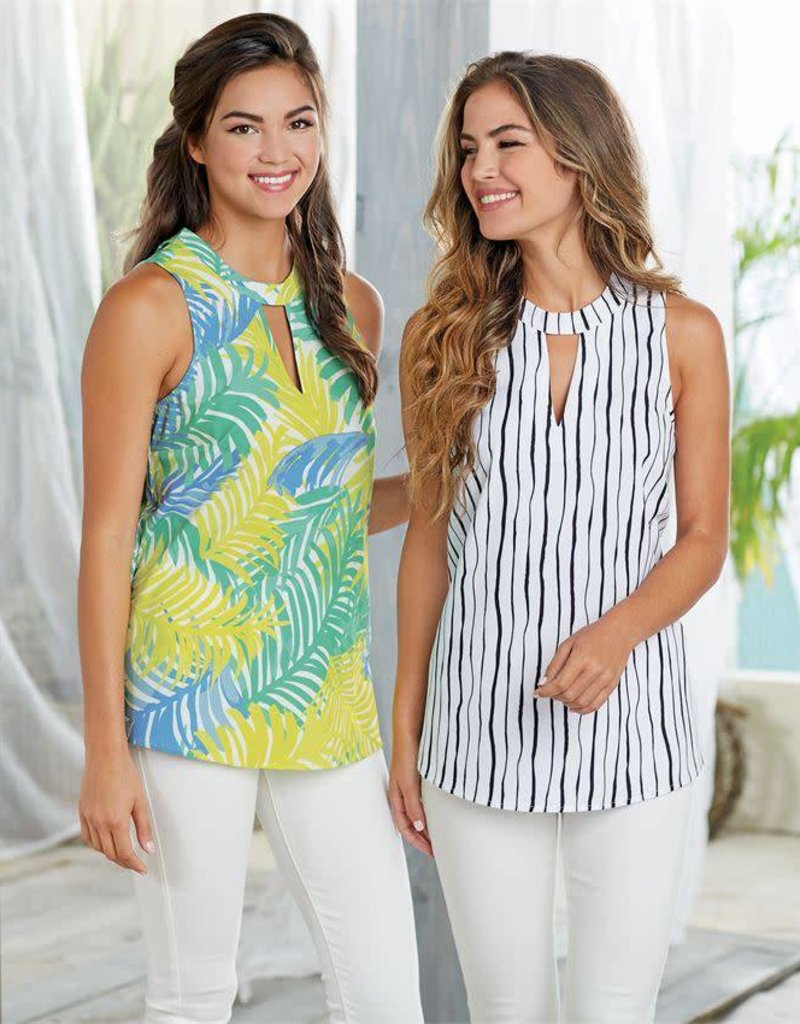 Mudpie Beverly Swing Top in Blue Palm