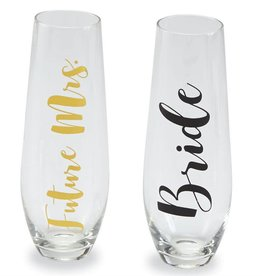Mudpie Bride Stemless Champagne Glass