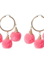 Fornash Fiesta Pom Pom Earrings in Neon Pink