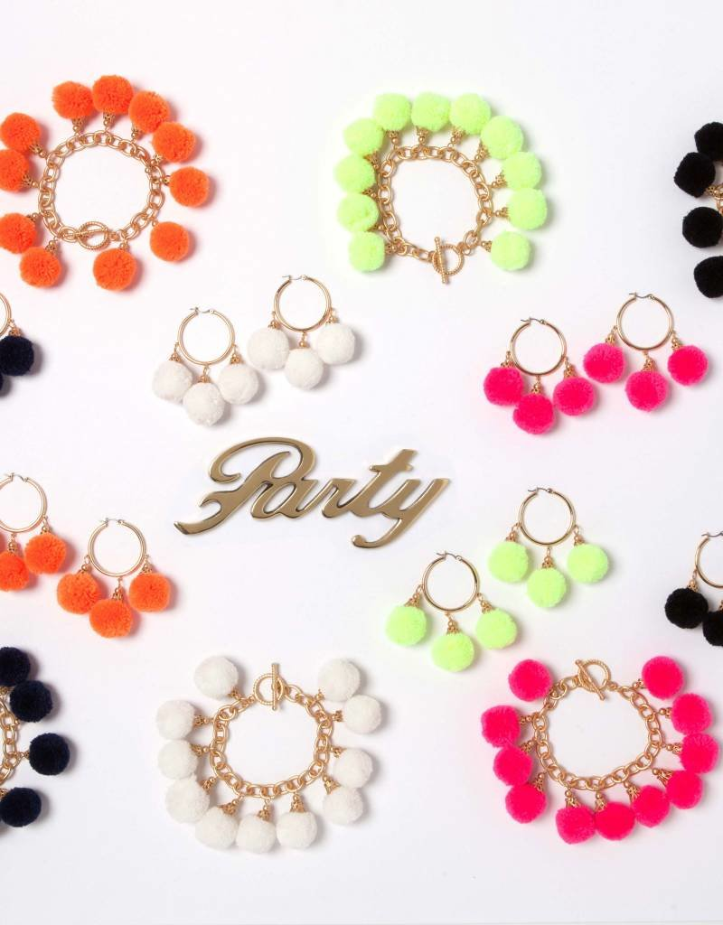 Fornash Fiesta Pom Pom Earrings in Neon Orange
