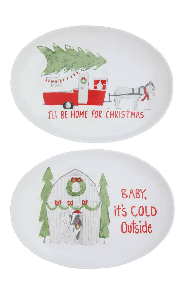 Ceramic Oval Platter with Holiday Saying