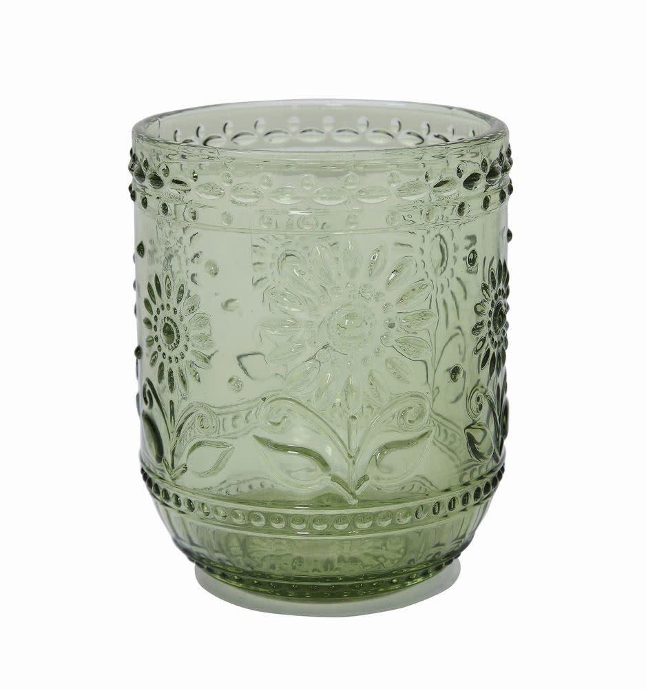 Green Drinking Glass/ Votive Holder