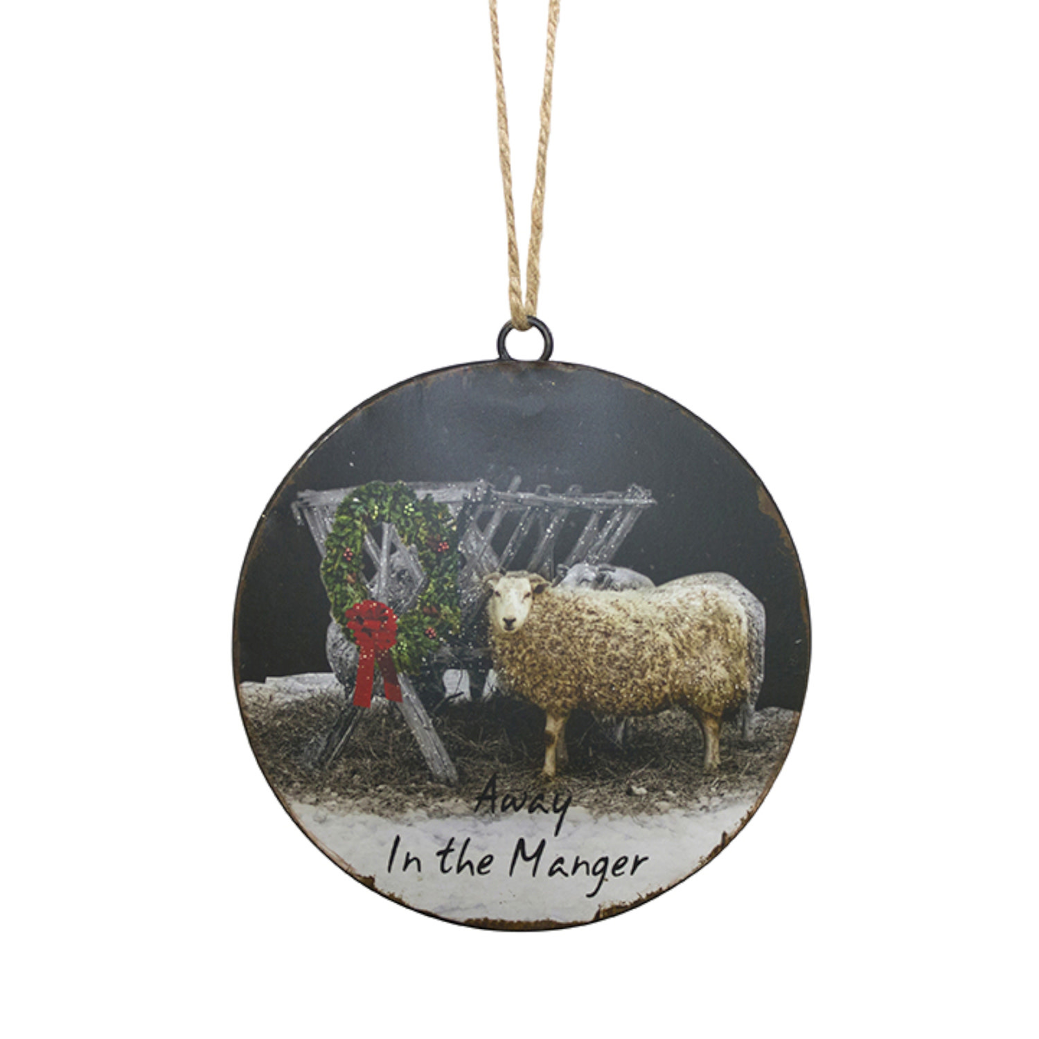 Sheep by Manger Disc Ornament