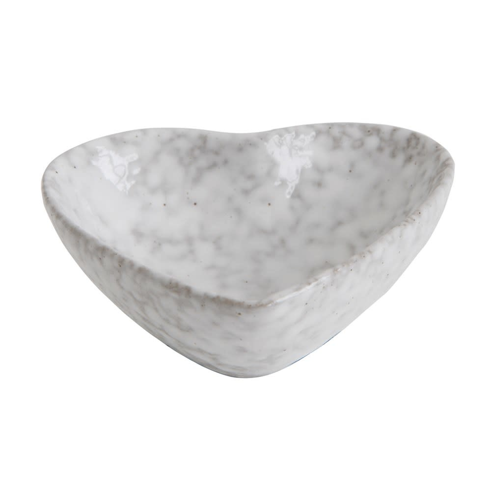 Stoneware Heart Dish with Antique White Finish