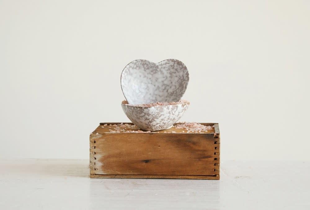 Stoneware Heart Dish with Antique White Finish