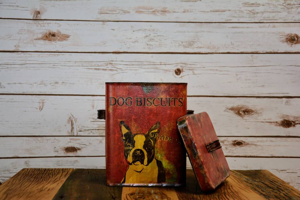 Red Tin Dog Biscuit Container