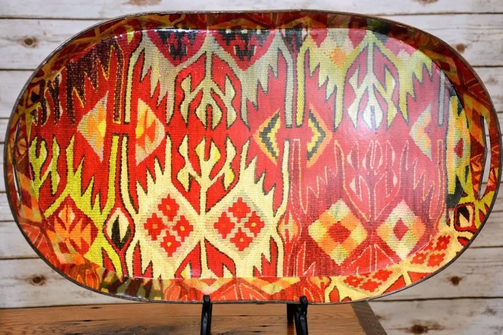 Tin Tray with Vintage Kilim Pattern